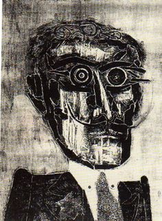 Antonio Berni - El amigo espiritual de Ramona. - Xilocollage