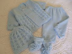 Knit Baby Boy Set Coming Home Antiallergic Yarn Newborn by Pitusa, $79.00