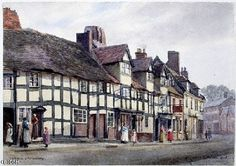Coleham is one of the oldest parts of Shrewsbury, and the name itself is almost certainly of Saxon origin. A number of 16th Century cottages survive today behind later frontages and are seen at the right end of the row shown in this Phipson watercolour of 1906. The cottages nearer to the artist were finally removed in the 1960s.