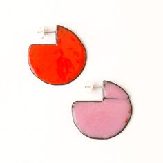 'Enfold' earrings - round Red & Pink (double sided so that the same colour faces outwards) vitreous enamel, copper & sterling Silver Vitreous Enamel, Round Earrings, Red And Pink, Im Not Perfect, Cufflinks, Copper, Faces, Victoria, Jewellery