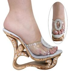 Women's Sandals Natural Wood Wedges with Swarovski Rhine Stones US Sizes 4-12 $500.00