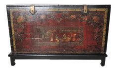 Antique and Historical Chinese Storage Trunk/Dowry Chest on Chairish.com