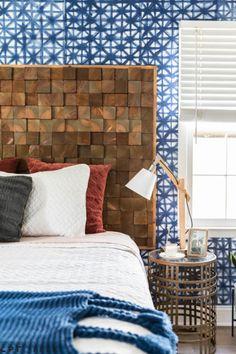 Tiled wood headboard DIY