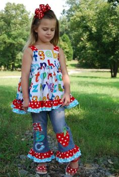 BTS Custom Boutique set Back To School ABC by MandMCreations, $85.00