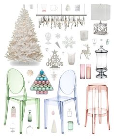 """""""Pastel Christmas"""" by belenloperfido ❤ liked on Polyvore featuring interior, interiors, interior design, home, home decor, interior decorating, Kartell, Clayton, Nuevo and CB2"""