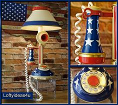 Vintage Patriotic 1973 Upcycled Candlestick Telephone STARS and STRIPES American Flag Repurposed Desk Lamp with Metal Shade by Loftyideas4u by Loftyideas4u on Etsy
