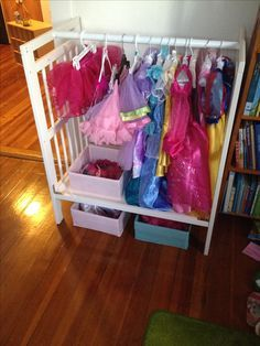 Dress up station made from repurposed changing table- easy!