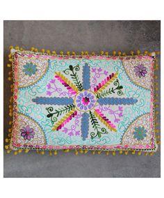 Karma Living Botanical Crewel Embroidered Rectangular Pillows
