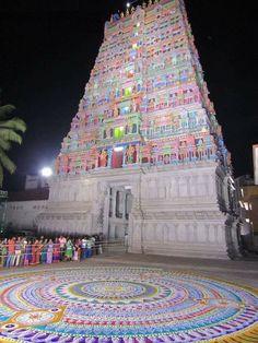Huge kolam for Lord Balaji at Tirupati Sri Venkateswara Swamy Temple, Tirupati, Andhra Pradesh, India. Venkateswara Temple, Indian Temple Architecture, Hindu Deities, Hinduism, Lord Balaji, Radha Krishna Pictures, Indian Gods, Incredible India, Cool Places To Visit