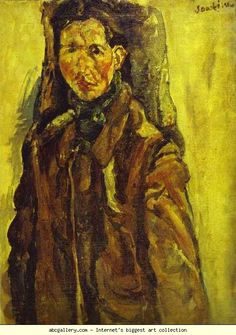 Chaim Soutine. Self-Portrait by Curtain/Autoportrait au rideau. Olga's Gallery.