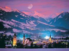 Moon over Kitzbuhel, Austria