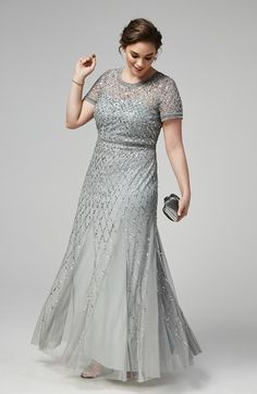 sparkling tulle & satin scoop neckline sheath mother of the bride