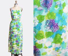 Vintage 60s Floral Sun Dress Hawaiian Togs / 1960s Maxi Dress Tropical HAWAIIAN Watercolor Print Sundress Blue Green Purple Extra Small xs
