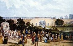 In the Opening of the Stockton and Darlington Railway, a watercolour painted in the 1880s by John Dobbin, The Stockton and Darlington Railway (S&DR) was a railway company that operated in north-east England from 1825 to 1863. The world's first public railway to use steam locomotives, its first line connected collieries near Shildon with Stockton-on-Tees and Darlington, and was officially opened on 27 September 1825.