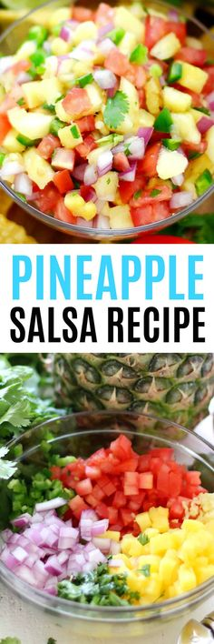 Fresh Pineapple Salsa is an incredibly easy #recipe that wows with its colorful presentation. Just a few simple ingredients & you have an #appetizer that's flavorful & delicious! #RealHousemoms #pineapple #salsa #mexicanfood #snack #poolparty #cincodemayo #cookout #summer via @realhousemoms