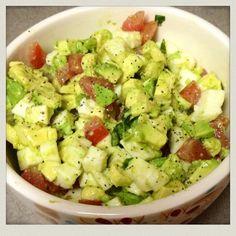 Avocado, tomato, mozzarella, salad. Simple yet delicious!