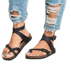 Summer Women's Flat Sandals Belt Buckle Shoes Female Roman Sandals – #sandals #sandalssummer #sandalsoutfit Summer Sneakers, Summer Shoes, Outfit Summer, Flat Sandals, Gladiator Sandals, Roman Sandals, Sandals Outfit, Shoes With Jeans, Beach Shoes