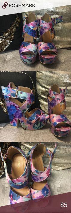 Watercolor platform wedge Shoe dazzle watercolor platform wedge Shoe Dazzle Shoes Wedges