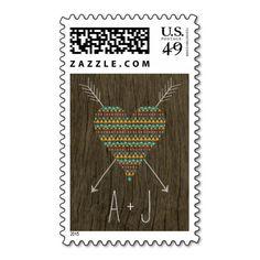 Tribal Pattern Heart Pattern Wedding Yellow / Aqua Stamps