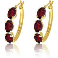 10k Yellow Gold 6x4 Oval Shape Natural Garnet 3-Stone Hoop Earrings (£72) ❤ liked on Polyvore featuring jewelry, earrings, garnet jewelry, yellow gold hoop earrings, yellow gold jewelry, hoop earrings and garnet jewellery
