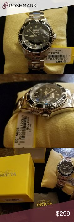 Invicta Pro Diver Men's watch A beautiful Pro Diver that is comfortable to wear offering precise timekeeping. It's case is made of stainless steel and has a black analog dial. Water resistant up to 200 meters. The stainless steel band provides a comfortable fit. No trades. Invicta Accessories Watches