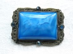 Pin Brooch Antique Blue Satin Glass Blue by FindCharlotte on Etsy