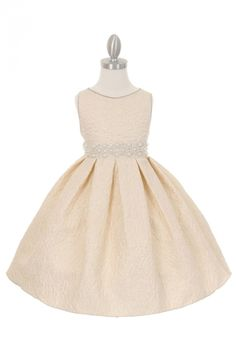 Girls Dress Style ME555 - Jacquard Dress with Pearl Rhinestone Waist in Choice of Color