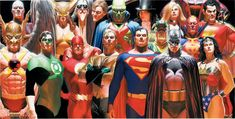 """DC Universe: """"Infinitely Heroic"""" - Limited Edition Giclée on Canvas by Alex Ross with the Justice League and members of the DC Comics universe. Comic Book Artists, Comic Book Heroes, Comic Books Art, Comic Artist, Batman Vs Superman, Superman News, Supergirl Superman, Comic Movies, Superhero Movies"""