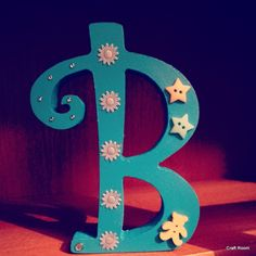 """blue """"B"""", the perfect decoration for the boy in the room Freestanding Wooden Letters, Symbols, Decoration, Room, Handmade, Blue, Art, Decor, Bedroom"""
