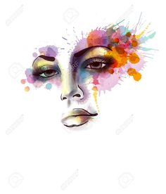 Female Portrait With Grungy Splashes Royalty Free Cliparts ...