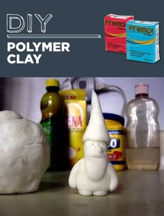Homemade Polymer Clay3/4 cup white glue 1 cup cornstarch 2 tablespoons mineral oil (I used baby oil but reportedly even vaseline will work) 1 tablespoon lemon juice Non-stick pot Wooden spoon