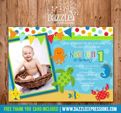 Printable Under the Sea Birthday Photo Invitation | Kids Summer Birthday Party Ideas | Boy First Birthday Invite | FREE thank you card included | Printable | Matching Party Package Available! Banner | Cupcake Toppers | Favor Tag | Food and Drink Labels | Signs |  Candy Bar Wrapper | www.dazzleexpressions.com