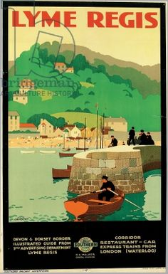 Lyme Regis Railway Poster for Southern Railway, 1926 Posters Uk, Train Posters, Railway Posters, Poster Prints, Dorset Holiday, Heritage Railway, British Travel, Lyme Regis, Tourism Poster