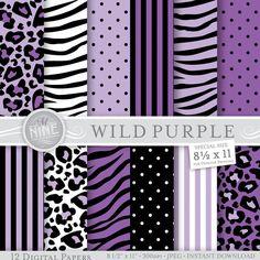 WILD PURPLE Digital Paper Pack Pattern Prints by MNINEDESIGNS