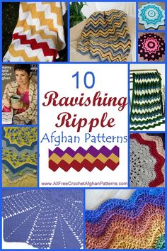 10 Ravishing Ripple Afghan Patterns - FREE crochet patterns! Ripple crochet afghans are some of the most popular patterns in the crochet world. There is something so soothing about a ripple pattern with its wavy rows and multiple colors.