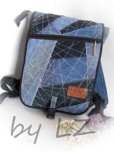 denim backpack handmade backpack patchwork backpack от klaptykart
