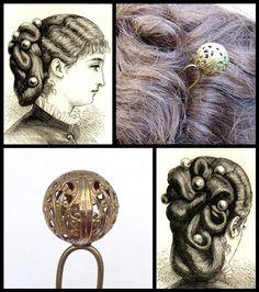 Victorian filigree ball topped hair pin hair comb hair pick