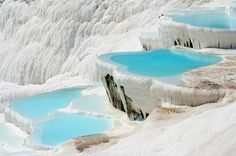 Snow white slopes and turquoise pools of #Pamukkale natural wonder