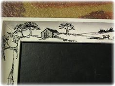 repurposed picture to chalkboard with painted frame