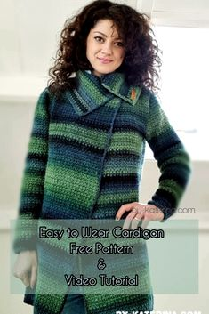 Easy To Wear Cardigan. Free Pattern & Video Tutorial easy to wear cardigan free pattern. Fallow the step by step instructions and video tutorial and make yourself one. Crochet Bolero, Crochet Coat, Crochet Cardigan Pattern, Crochet Jacket, Crochet Clothes, Free Crochet, Crochet Sweaters, Crochet Designs, Crochet Patterns