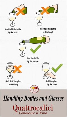 Come maneggiare correttamente calici e bottiglie. How to correclty hold bottles and glasses. Dinning Etiquette, Table Setting Etiquette, Comment Dresser Une Table, Wine Facts, Etiquette And Manners, Wine Tasting Party, Table Manners, Wine Guide, In Vino Veritas