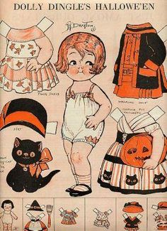 Incredibly cute vintage Halloween paper dolls from 1927 (doesn't the artwork remind you so much of the Campbell's kids?). #art #vintage #1920s #twenties #cute #paper #dolls #twenties #toys #kids #costumes