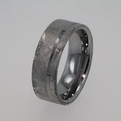 Mens Tungsten Wedding Rings / Meteorite Ring / by jewelrybyjohan, $549.00