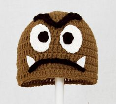 Goomba Hat from Super Mario Bros, Brown Crochet Beanie,  send size choice baby - adult. $25.00, via Etsy.