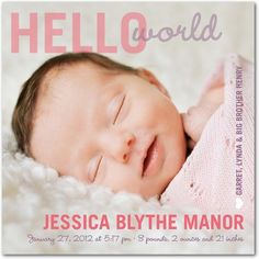 Possible birth announcement baby-love