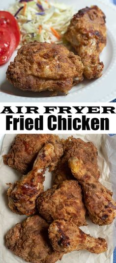 Perfectly seasoned, incredibly tender fried chicken. You'd never guess this crispy Air Fryer Fried Chicken was made using a tiny fraction of the oil called for in traditional methods. #airfryer #airfryerrecipes #chicken #chickendinner #healthyrecipes #lightrecipes