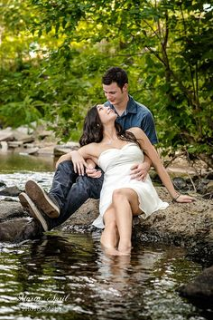 Marta April Photography | {Couples Portrait Session} green romantic in the creek forest woods by the water river