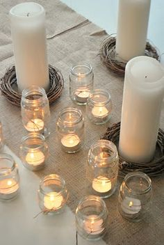 Old jars and tea lights - so simple and pretty