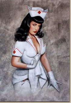 Photo of Olivia does Bettie Page for fans of Pin Up Girls. A pin-up painting of Bettie Page done by the artist Olivia de Berardinis. Pinup Art, Pin Up Girl Vintage, Photo Vintage, Pin Up Nurse, Bettie Page Photos, Dibujos Pin Up, Nurse Betty, Olivia De Berardinis, Pin Up Drawings