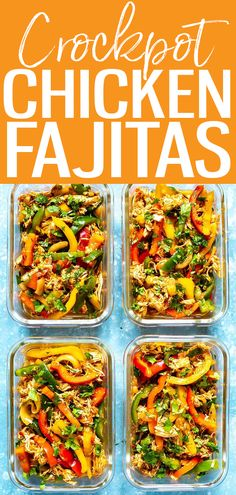 These Crockpot Chicken Fajitas are so perfect for meal prep! Dump in 5 ingredients, then cook for 8 hours - this is the easiest recipe ever! #crockpotrecipe #chickenfajitas Crockpot Chicken Fajita Recipes, Best Crockpot Recipes, Chicken Fajitas, Slow Cooker Recipes, Delicious Recipes, Meal Prep Bowls, Easy Meal Prep, Easy Meals, Healthy Meals To Cook